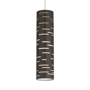 Revel Satin Nickel One-Light Mini Pendant with Antique Bronze Shade and Satin Nickel Stem