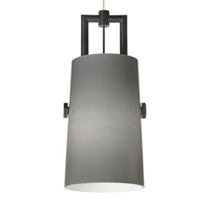 Revere Black One-Light Mini Pendant with Smoke Shade and Black/Satin Nickel Stem