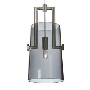 Revere Satin Nickel One-Light LED Mini Pendant with Transparent Smoke Shade and Satin Nickel/Satin Nickel Stem