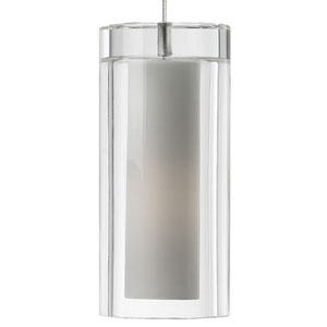 Sara Satin Nickel One-Light Mini Pendant with Clear Shade and Satin Nickel Stem