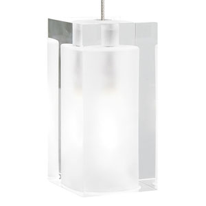 Solitude Satin Nickel One-Light Mini Pendant with Frost Shade and Satin Nickel Stem