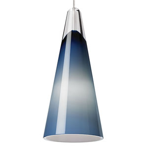 Selina Satin Nickel One-Light LED Mini Pendant with Steel Blue Shade and Satin Nickel Stem