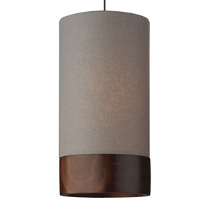 Topo Antique Bronze One-Light LED Mini Pendant with Heather Gray Shade and Antique Bronze Stem