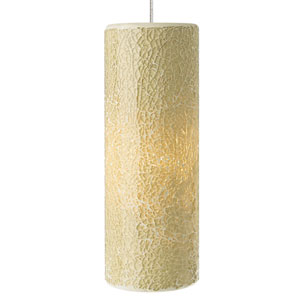 Veil Gold One-Light Mini Pendant with Latte Shade and Satin Nickel Stem