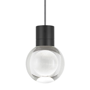 Mina Black 2200 Kelvin LED Line-Voltage Mini-Pendant with Black and White Cord
