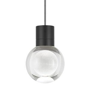 Mina Black LED Line-Voltage Mini-Pendant with Black and White Cord