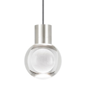 Mina Satin Nickel LED Line-Voltage Mini-Pendant with Black and White Cord