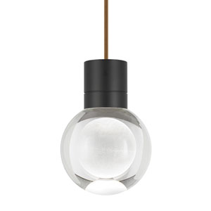 Mina Black 2200 Kelvin LED Line-Voltage Mini-Pendant with Brown Cord