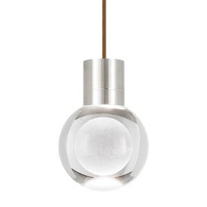 Mina Satin Nickel 3000 Kelvin LED Line-Voltage Mini-Pendant with Brown Cord