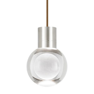 Mina Satin Nickel LED Line-Voltage Mini-Pendant with Brown Cord