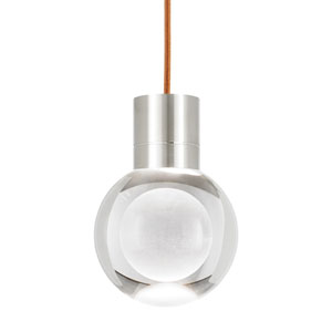 Mina Satin Nickel LED Line-Voltage Mini-Pendant with Copper Cord