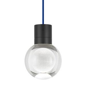 Mina Black 2200 Kelvin LED Line-Voltage Mini-Pendant with Blue Cord
