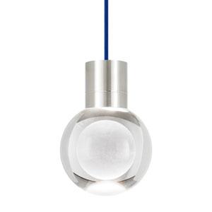 Mina Satin Nickel LED Line-Voltage Mini-Pendant with Blue Cord