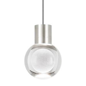 Mina Satin Nickel LED Line-Voltage Mini-Pendant with Gray Cord
