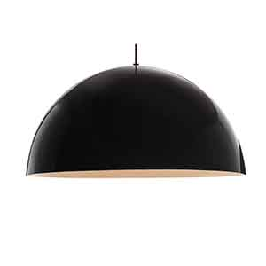 Powell Street Black One-Light Pendant with Gloss Black and White Shade