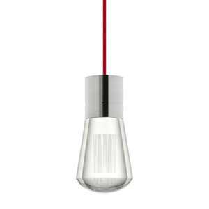 Alva Satin Nickel  2200K LED Mini Pendant with Clear Shade and Red Stem