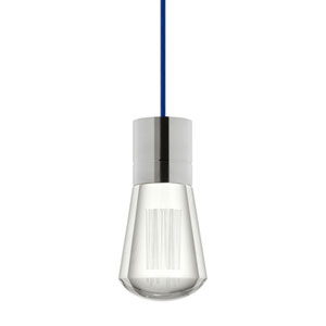 Alva Satin Nickel 3000K LED Mini Pendant with Clear Shade and Blue Stem