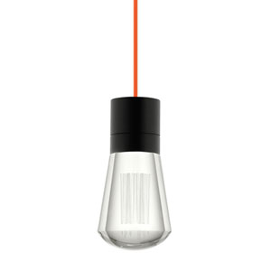 Alva Black 3000K LED Mini Pendant with Clear Shade and Orange Stem