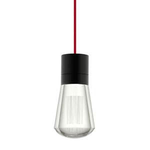 Alva Black 3000K LED Mini Pendant with Clear Shade and Red Stem