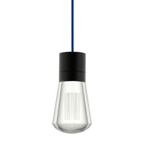 Alva Black 3000K LED Mini Pendant with Clear Shade and Blue Stem