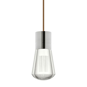 Alva Satin Nickel 3000K LED Mini Pendant with Clear Shade and Brown Stem