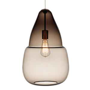 Capsian Satin Nickel One-Light Grande Mini Pendant with Smoke Glass