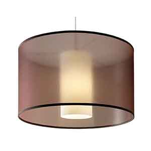 Dillon Satin Nickel One-Light Pendant with Brown Fabric Shade