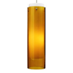 Echo Grande Amber One-Light 277V Fluorescent Mini Pendant with White Canopy