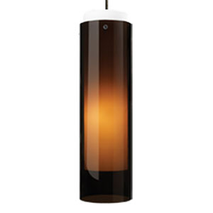 Echo Grande Havana Brown One-Light Mini Pendant with Black Canopy