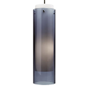 Echo Grande Steel Blue One-Light 277V Fluorescent Mini Pendant with Satin Nickel Canopy
