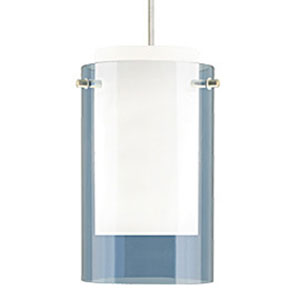 Echo Steel Blue One-Light Mini Pendant with White Canopy