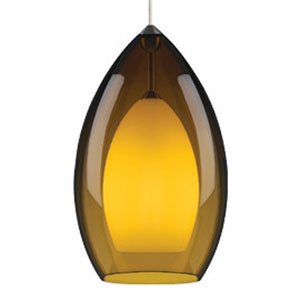 Fire Grande Amber One-Light Fluorescent Mini Pendant with Antique Bronze Canopy