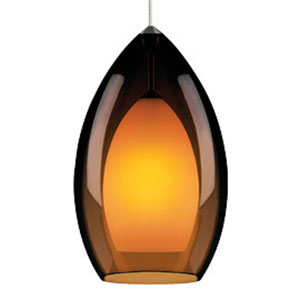 Fire Grande Havana Brown One-Light Mini Pendant with Antique Bronze Canopy