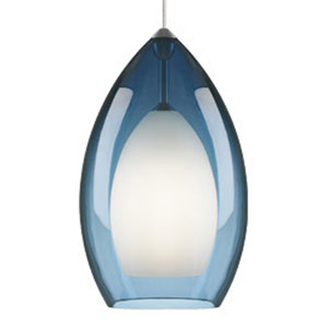 Fire Grande Steel Blue One-Light Mini Pendant with Satin Nickel Canopy