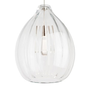 Harper Satin Nickel One-Light Pendant with Clear Shade and Satin Nickel Stem
