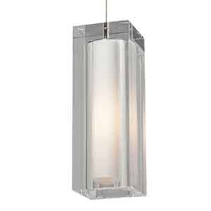 Jayden Satin Nickel One-Light Grande Mini Pendant with Clear Glass