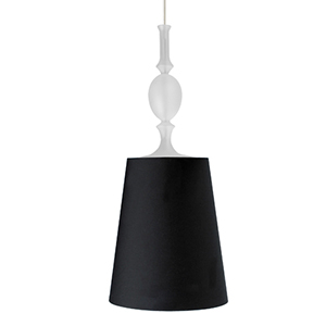 Kiev Satin Nickel One-Light Large Mini Pendant with Black Fabric Shade