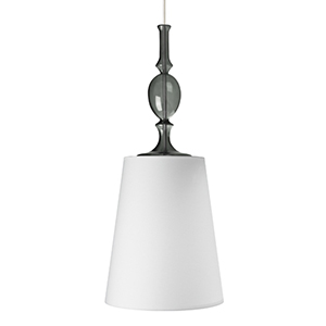 Kiev Black One-Light Large Mini Pendant with White Shade Fabric Shade