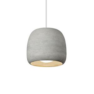 Karam White One-Light Pendant with Small Concrete Shade and Gray Stem