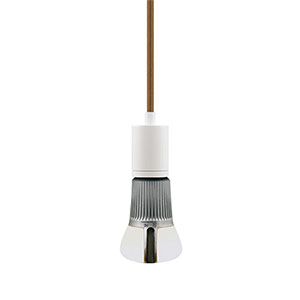 Soco White One-Light 8-Feet Modern Socket Mini Pendant with Brown Cord