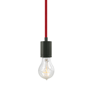 Soco Antique Bronze One-Light 8-Feet Modern Socket Mini Pendant with Red Cord