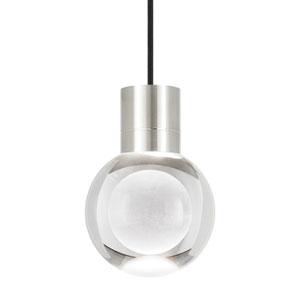 Mina Satin Nickel LED Line-Voltage Mini-Pendant with Black Cord