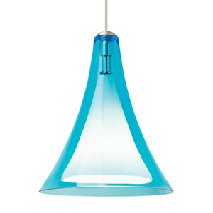 Melrose II Aqua Glass One-Light Line-Voltage Mini-Pendant