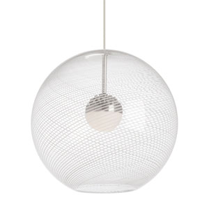 Palestra Clear One-Light Pendant with Opal Shade and Satin Nickel Stem