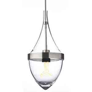 Parfum Grande Satin Nickel One-Light Mini Pendant with Clear Glass