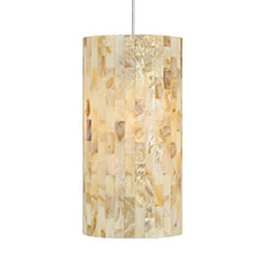 Playa Natural One-Light 277V Fluorescent Mini Pendant with Satin Nickel Canopy