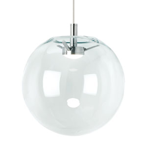 Palona Satin Nickel and Clear Glass LED Line-Voltage Globe Pendant