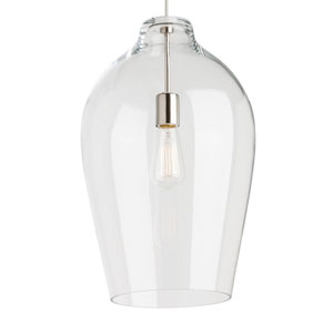 Prescott Satin Nickel One-Light Pendant with Clear Shade and Satin Nickel Stem