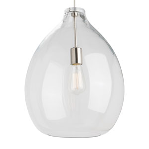 Quinton Black One-Light Pendant with Clear Shade and Black Stem