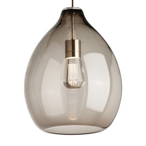 Quinton Satin Nickel One-Light Pendant with Smoke Shade and Satin Nickel Stem